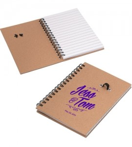 This notebook comes with a pen loop and a pen. The paper is inserted using a coil binding for cleanliness.