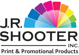 Black J.R. Shooter logo, no background, colour wheel on top of Shooter